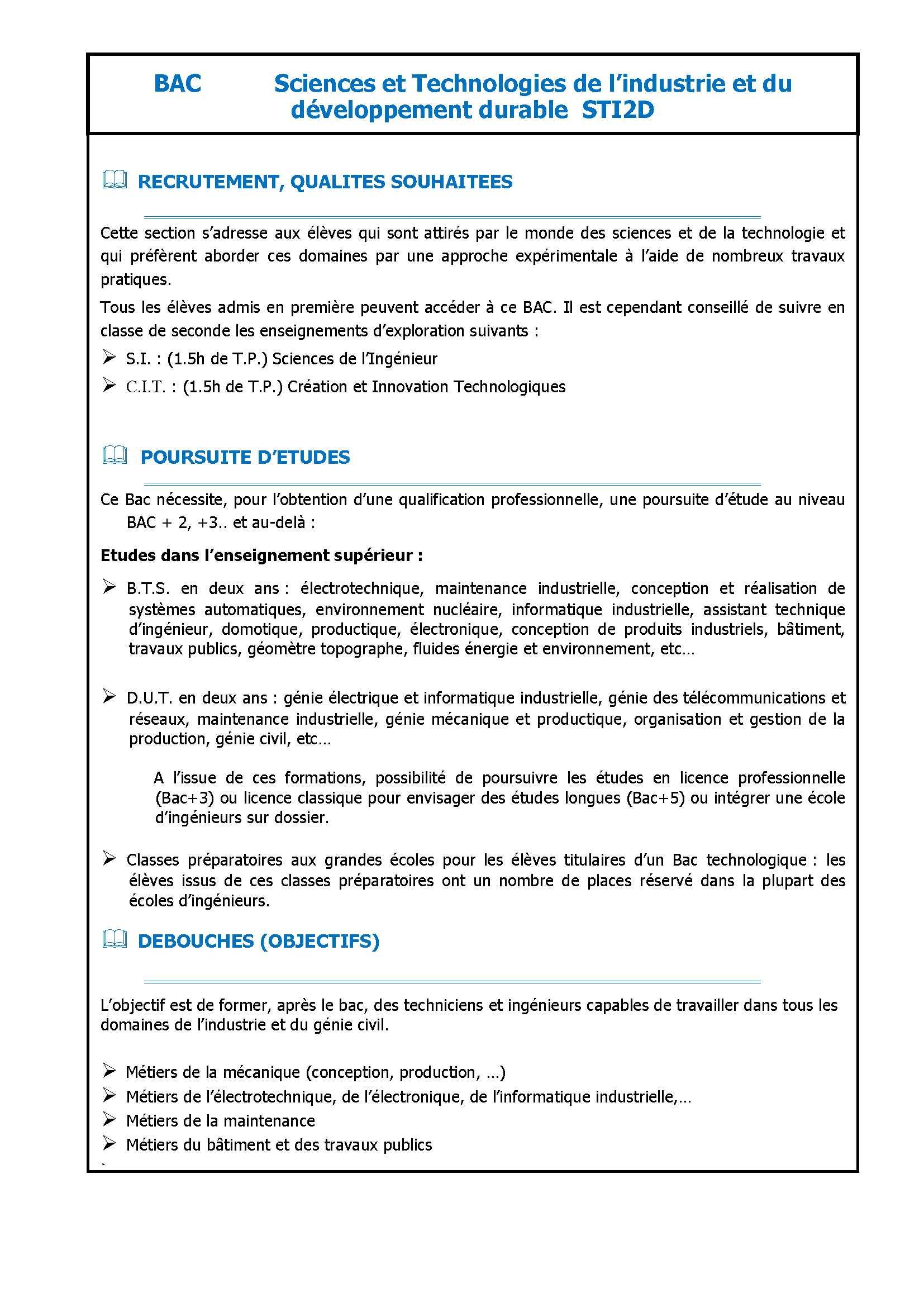 Bac Sciences Et Technologies De Lindustrie Et Du Développement